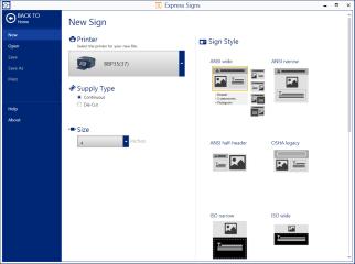 Sélectionner l'imprimante, le format et le style de panneau